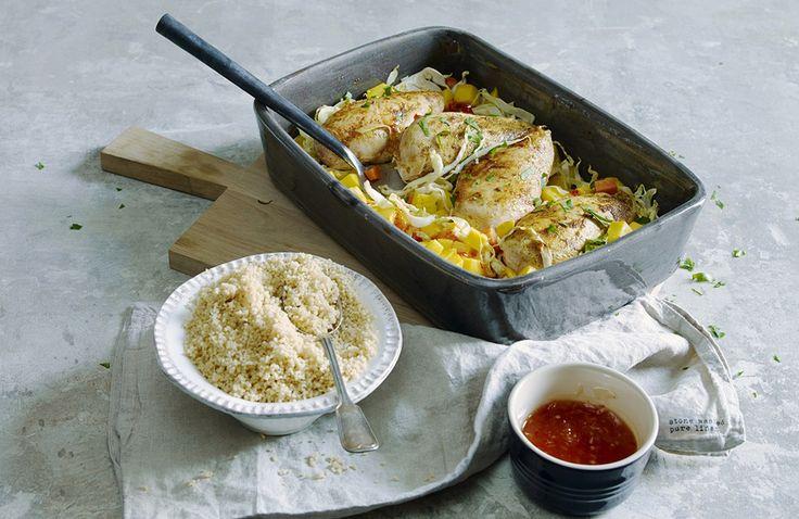 Ovnsbakt kyllingilet med mango, chili og appelsin  -- Grete Roede