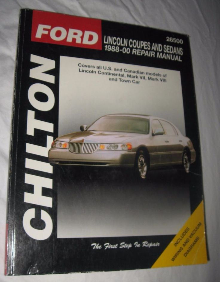 Chilton Repair Manual Lincoln Coupes and Sedans, 198800