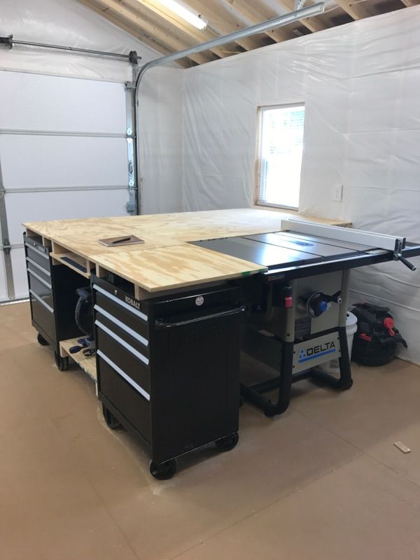 Instagram: @edgegrainwoodstudio I built this multi-use workbench by modifying 2 Kobalt tool chests. I also built an out feed table for my table saw.   Follow me on IG: @edgegrainwoodstudio  Twitter: @edge_grain  #woodworking #woodwork #woodworker #workbench #woodshop #mitresaw #chopsaw #tablesaw #outfeedtable #kobalt #delta #nashvilletn #Nashville #nashvillewoodworker #wood  #615 #edgegrainwoodstudio