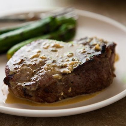 Grilled Steaks with Blue Cheese Garlic Sauce — Sounds AMAZING!
