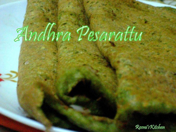Resmi's kitchen: ANDHRA PESARATTU / CHERUPAYAR DOSA