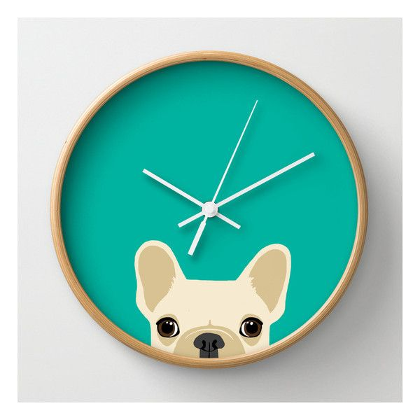 French Bulldog Wall Clock (39 AUD) ❤ liked on Polyvore featuring home, home decor, clocks, wall clocks, battery clock, battery operated wall clock, battery powered clock, battery powered wall clock and battery wall clocks