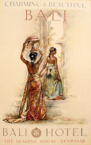 Willem Gerard Hofker - Poster voor het bali Hotel te Denpasar. 'Meisjes met offers voor de ingang van een tempel'.