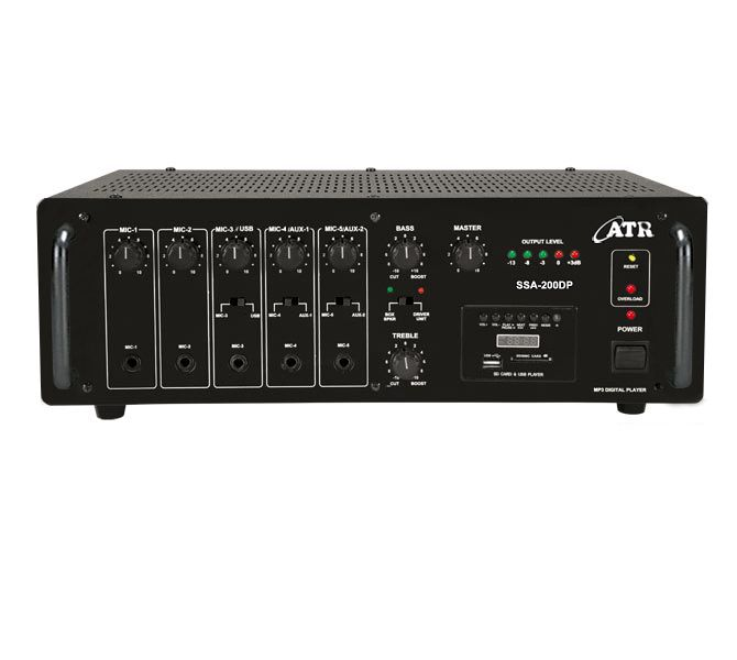 SSA-200DP: 200Watts PA #Amplifier with Digital Player Power Output: 280W Max., 200W RMS at 10% THD Input Channel: 5 x Mic 0.65mV/4.7kΩ, 2 x Aux 100mV/470kΩ, 1 x Line 1V/20kΩ Digital Player: Built-in MP3 Player with Remote Control (USB, SD and MMC Card Reader & FM Player) Tone Controls: Bass: ±10dB at 100Hz, Treble: ±10dB at 10kHz Outputs: Preamp 200mV/600Ω, Line 1V/1kΩ Speaker Outputs: 4Ω, 8Ω, 16Ω, 70V & 100V  contact www.atracoustics.com