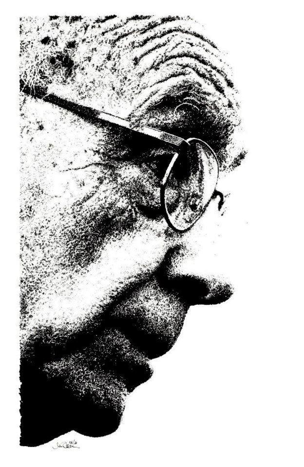 """""""José de Sousa Saramago"""" - 06.2011 China su carta ruvida Fabriano 200 gr. - 27,7x43,3 cm #portrait #art #poetry"""