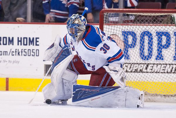 Goalie Henrik Lundqvist #30 of the New York Rangers makes a save during the pre-game warm-up prior to NHL action against the Vancouver Canucks on November 15, 2016 at Rogers Arena in Vancouver, British Columbia, Canada. (Nov. 14, 2016 - Source: Rich Lam/Getty Images North America)