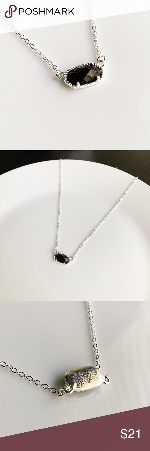 NEUE kleine ovale Halskette (silber + schwarz) Kategorie: Modeschmuck Kettenlänge …