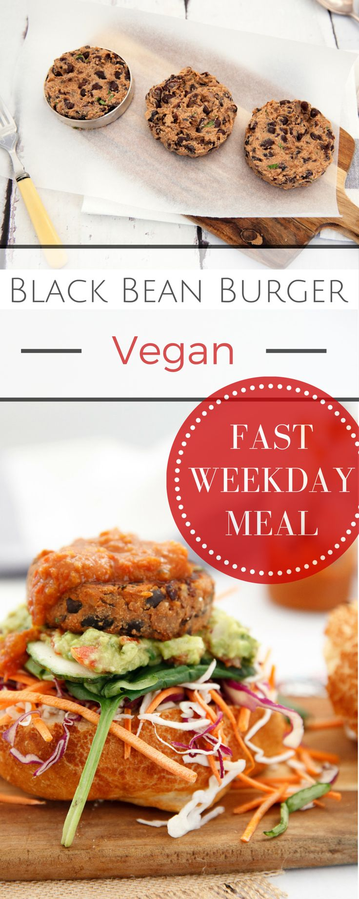 Delicious & Quick!! These Black Bean Burgers are YUM! Pin for a fast Vegan Burger! Also Gluten Free if you use GF buns. #vegan #GF #Burger #glutenfree #deliciouslyella