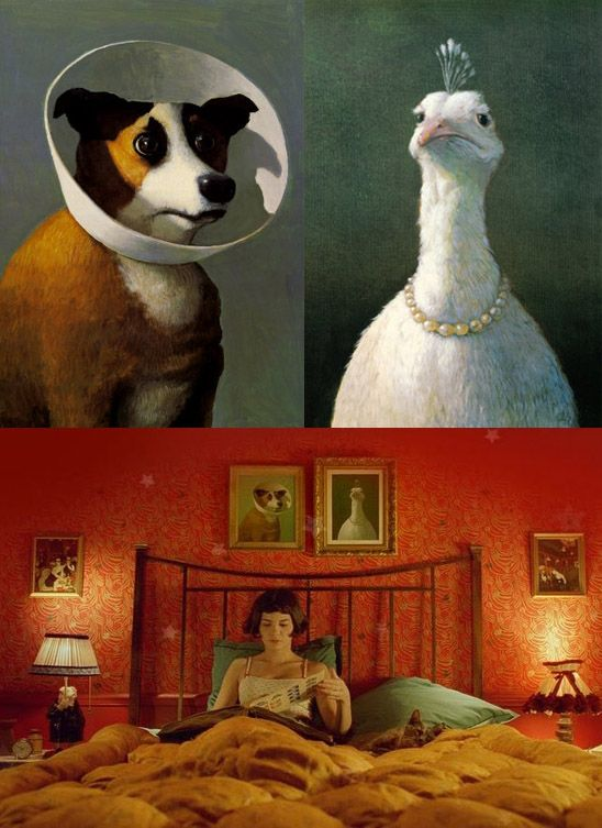 Dog and Goose paintings from Amelie, by Michael Sowa.: Michael Sowa, Favorite Movies, Painting Lov, Vegetables, Goose Paintings, Christmas Gifts