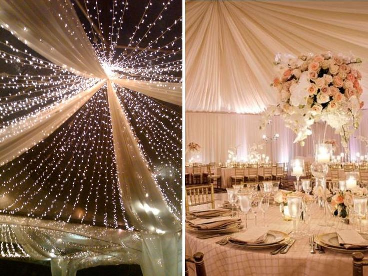 Ceiling Draping with or Without Lights - Stunning Ideas for Wedding Ceiling Decorations - EverAfterGuide