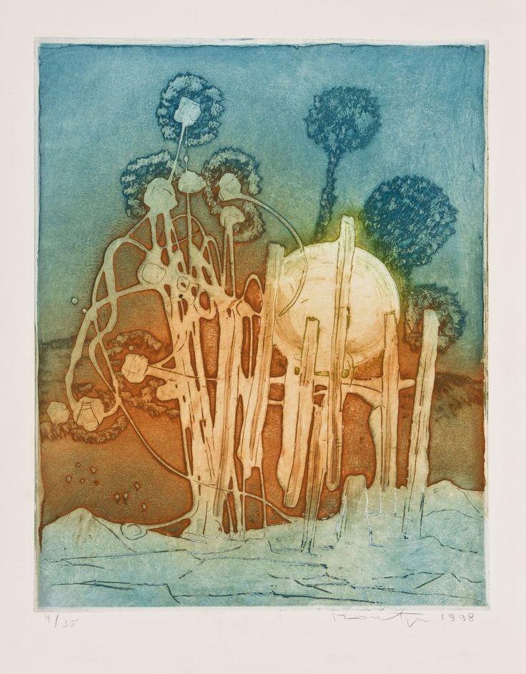 Jan Montyn: etching, Tropical Flowers, 1998
