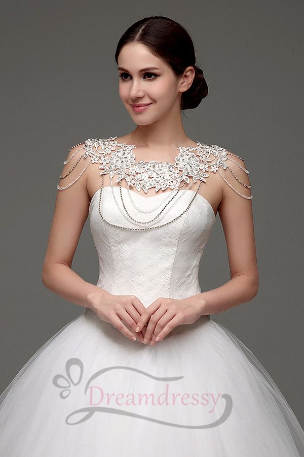 e55890f4050f Ball Gown Sweetheart Ivory Long Wedding Dress with Shoulder Chain in ...