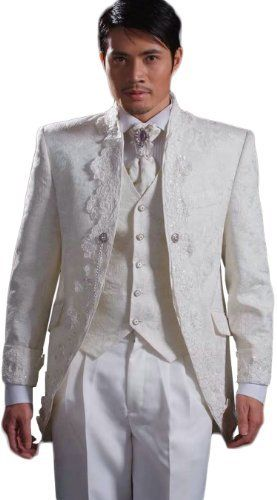 White Satin Mens Button Tuxedo Suit Jacket Shirt Necktie Pants Vest Lace