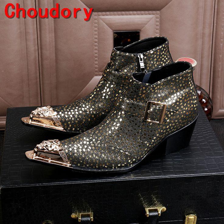 Choudory бота masculina стали золото toe платье военные сапоги средний каблук шипованные ботинки кожаные ковбойские сапоги мужские(China (Mainland))