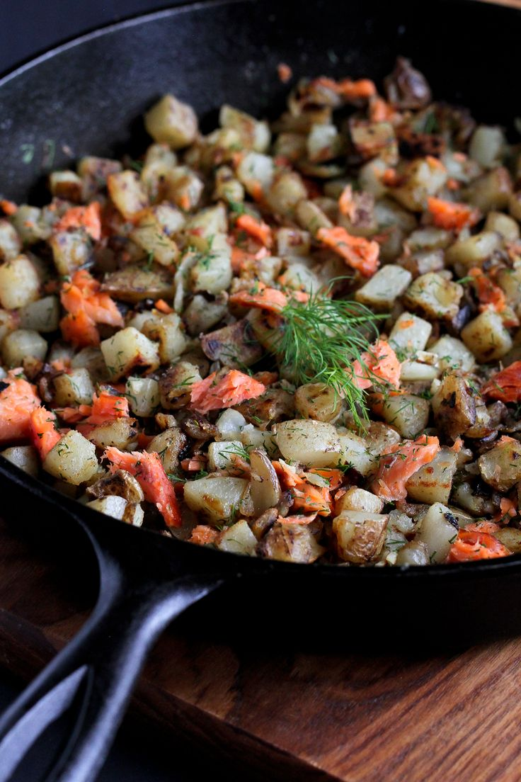 This breakfast hash recipe is taken to a whole new level with the addition of smoked salmon and fresh dill.  Perfect for brunch or dinner.
