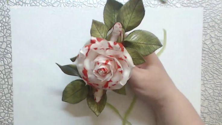 Сборка розы и бутонов в композицию Зефирный мраморный фоамиран