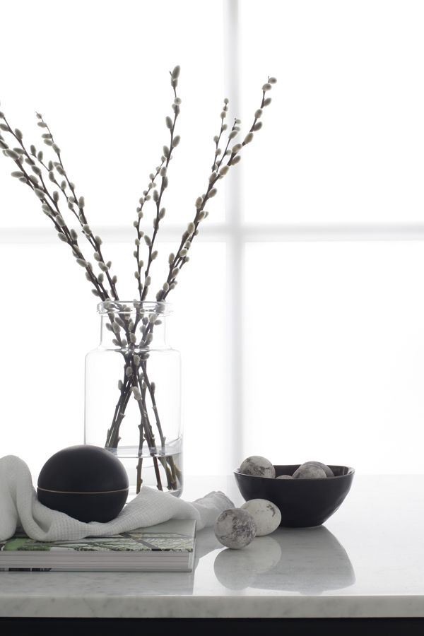 Willow catkins in a plain vase. Perfect for minimalist Easter decor.