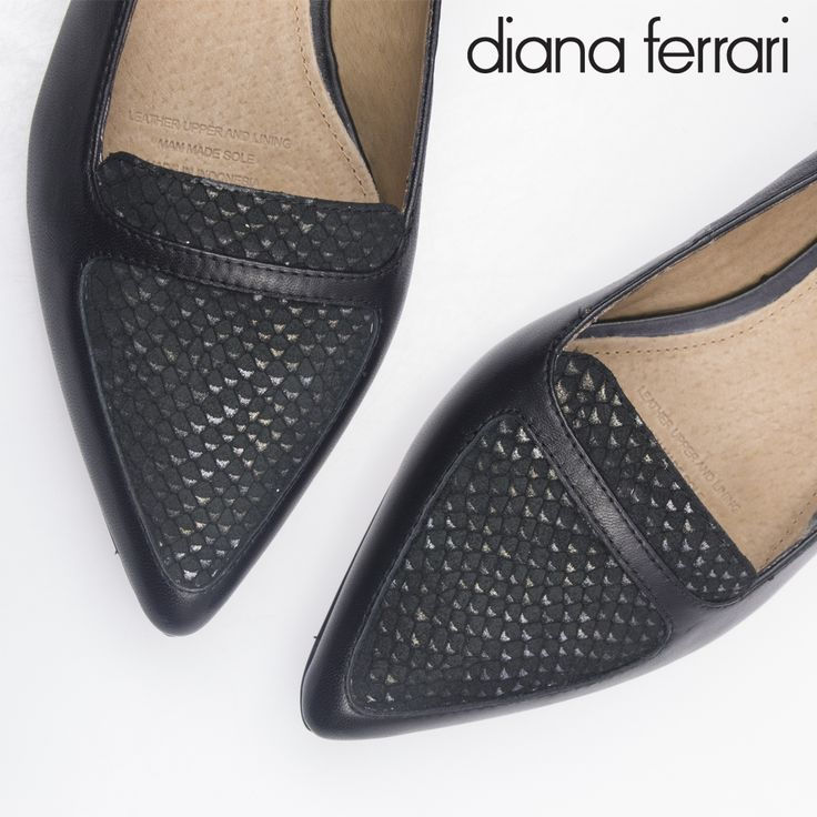 A gorgeous feminine wedge with a pointed toe by Diana Ferrari. Available at Rosenberg Shoes in black/metallic scale with an Italian suede feature panel. Sizes AU/US 10-12.