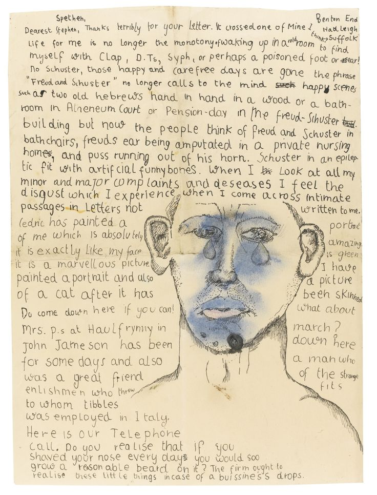 thunderstruck9: Lucian Freud (British, 1922-2011), Letter from Lucian Freud to Stephen Spender, 1941. Ink, crayon and watercolour on paper, 33.7 x 24.6 cm.