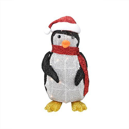 Felices Pascuas Collection 19.5 inch Lighted Tinsel Penguin with Santa Hat Christmas Yard Art Decoration