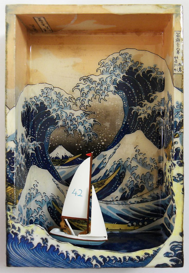 """The Meaning of Life"" by Hogret - collaged combinations of 3 versions of Hokusai's wave etchings, distress inks, resin, miniature yacht with two figurines (HO Gauge)."