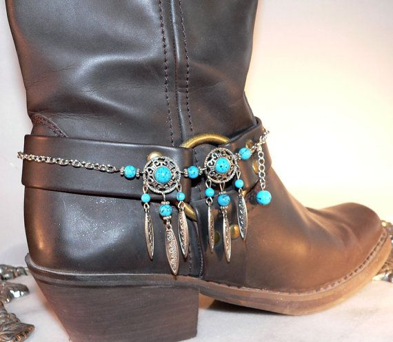 Turquoise Blue Boot Bracelet Cowboy Bling by SunriseBeadedJewelry, $15.00
