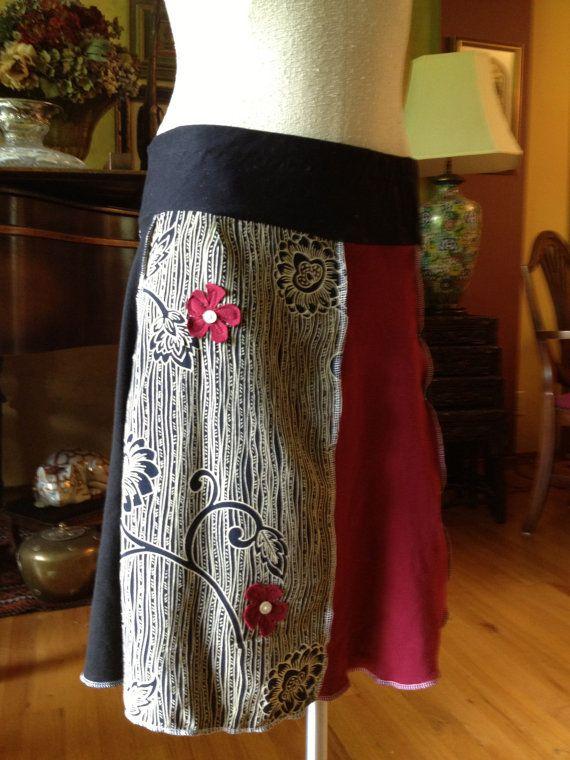Recycling-gefahrenen Baumwolle Mischung Patchwork getäfelte mittlere Rock Boho Hippie rot schwarz Muster