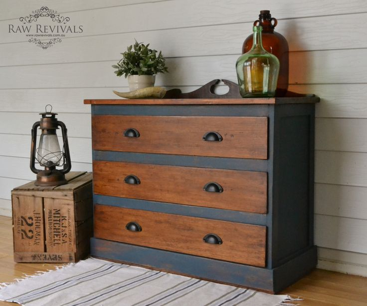 Antique Restored Hardwood Chest Of Drawers Painted In Navy Chalk Paint And Polished Timber