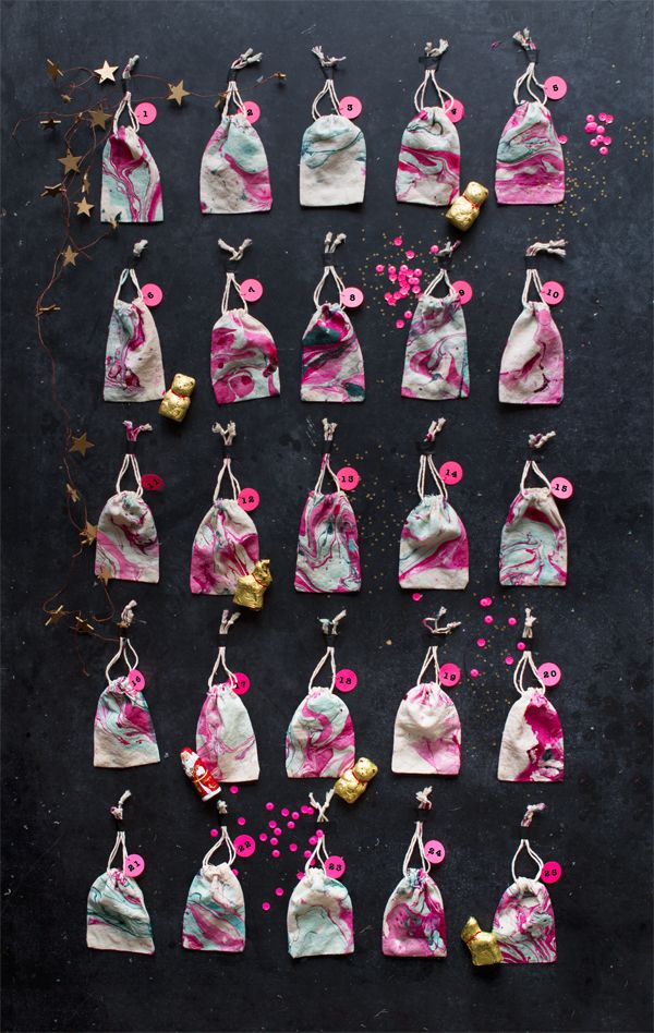 DIY Marbled Bag Advent Calendar | Oh Happy Day!