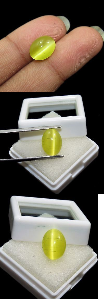 Chrysoberyl 110792: Marvelous 100% Natural 4.80 Ct Oval Shape Certified Honey Color Cats Eye Gems -> BUY IT NOW ONLY: $49.99 on eBay!