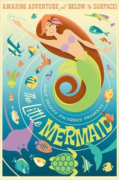 The Little Mermaid / by Eric Tan (canvas) / Price: $350.00Movie Posters, Vintage Posters, Vintage Disney, Little Mermaids, Disney Princesses, Retro Posters, Thelittlemermaid, Disney Posters, The Little Mermaid