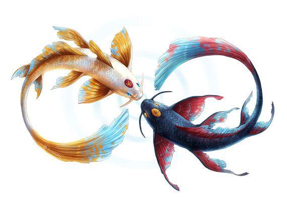 Eternal Bond - Signed Fine Art Giclee Print - Wall Decor - Koi Fish Forming Eternity Symbol - Painting by Jonas Jödicke