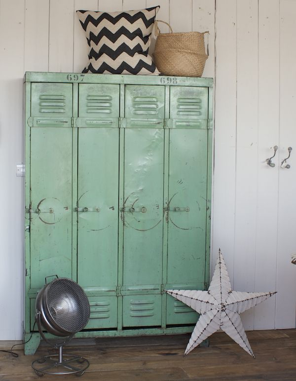 Vintage metal lockers in the mud room                              …