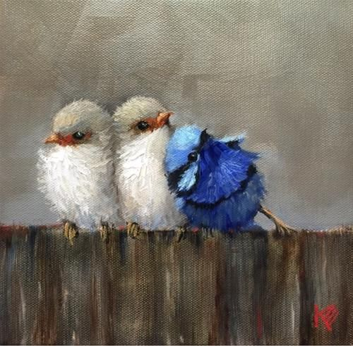 """Daily+Paintworks+-+""""Birds+of+a+Feather""""+-+Original+Fine+Art+for+Sale+-+©+Krista+Eaton"""