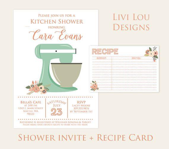 Mint Mixer Kitchen Shower Floral Bridal Shower Theme Invitation Digital Printable Invite