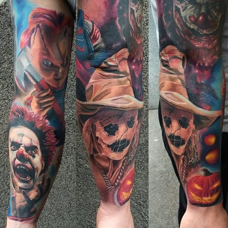 #realistictattoo #clowntattoo #scaryclown #scarecrowtattoo #scarecrow #chucky #chuckytattoo #colourtattoo #horrortattoo #horror #tattoo #ink #pumpkin #pumpkintattoo