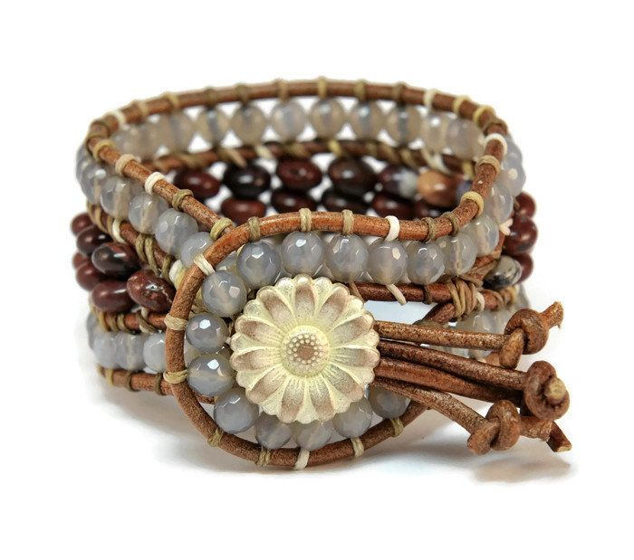 Boho Soraya * Agate and Jasper Natural Brown Leather Strand Boho Style Wrap Bracelet