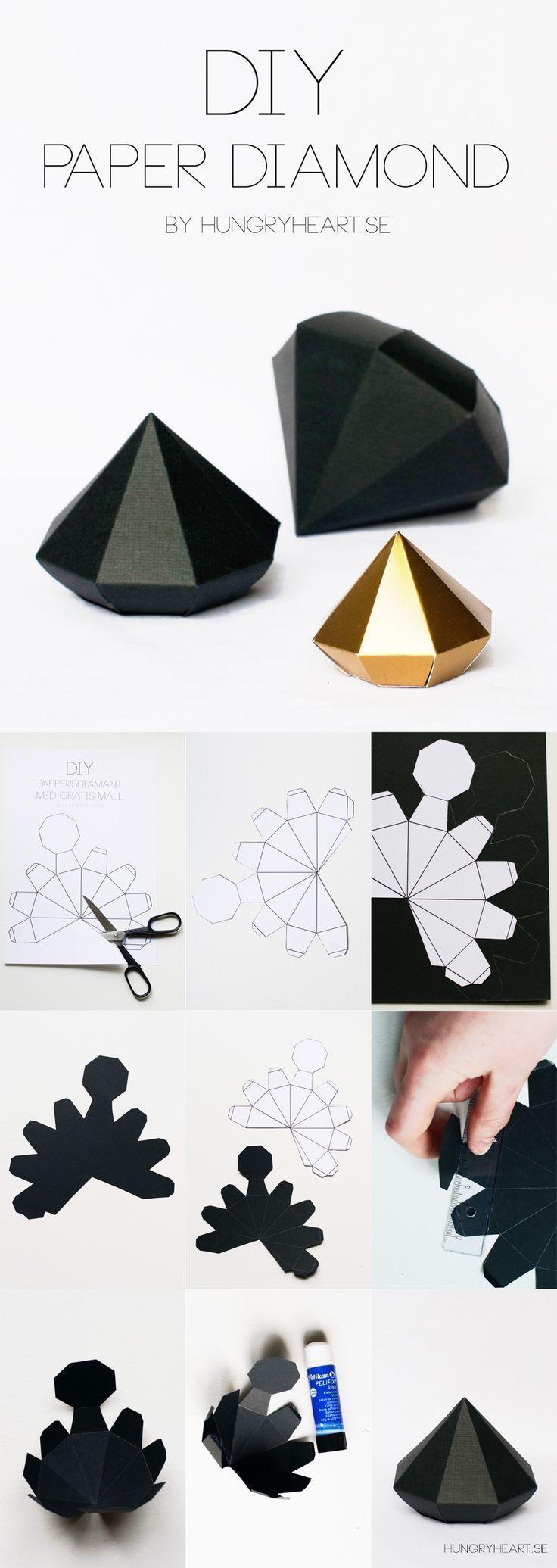 DIY Paper Diamond Tutorial with FREE Printable Template | HungryHeart.se