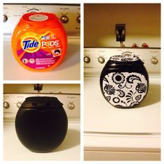 I thought this Tide Pod container would be an easy place to store lint and I needed it to match my kitchen!!