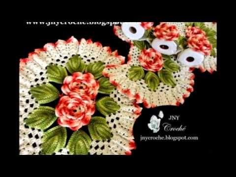 Jogo de Banheiro Flores de Crochê - Novas Versões 2014 - JNY Crochê - YouTube