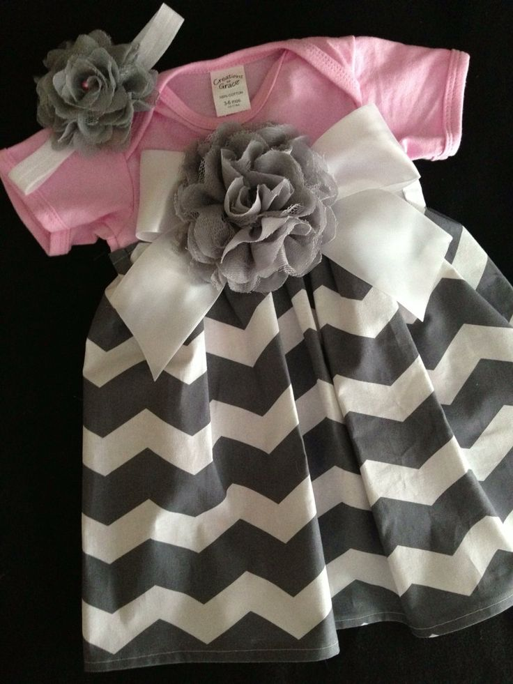 Pink and Grey Chevron Dress by HaleyLaine on Etsy