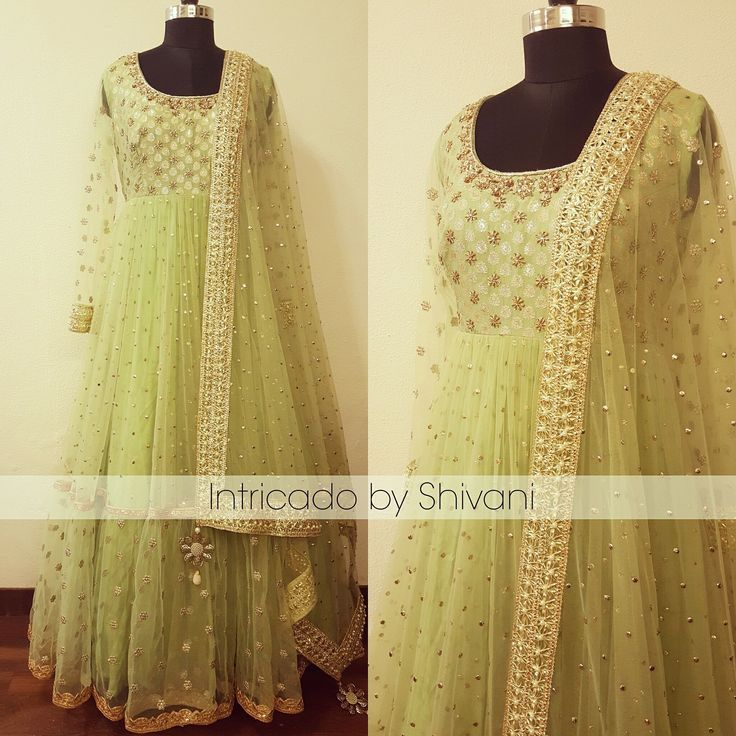 Mukaish kundan and dabka embroidered floor length anarkali in pistachio green.To order/enquiry email at shivani@intricado.com or Whatsapp at +918527463626 anarkali floor length designer anarkali . 24 February 2017