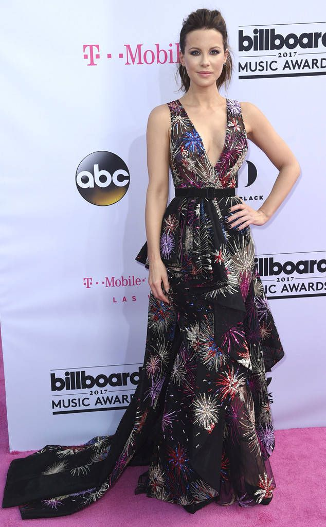 Kate Beckinsale from Billboard Music Awards 2017: Red Carpet Arrivals  The Brit opted for a colorful gown for the 2017 Billboard Music Awards.