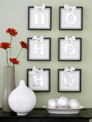 Christmas wall decor... nice idea. I'm not a monochromatic kind of person, so I'd use red & white for a contrast.