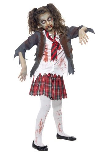 It's time to infect the classroom! This Kids Zombie School Girl Costume lets your little girl bring the undead virus to her school.