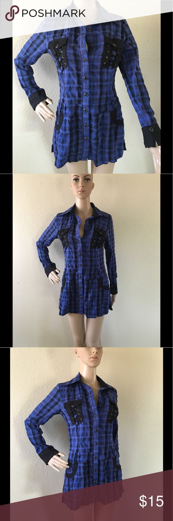 Stunning plaid button down shirt Blue and black with hints of purple, plaid shirt with metallic trim buttons and fantastic black, shoe-string laced chest pockets. Listed as 38, wears like a Small. Baran Collection Tops Button Down Shirts