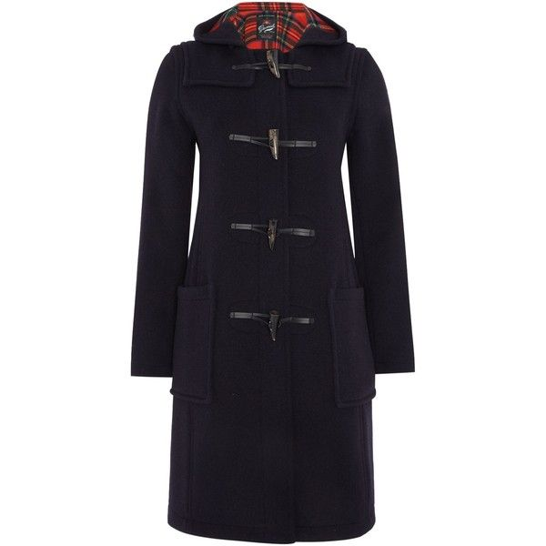Gloverall Long Slim Duffle Coat ($390) ❤ liked on Polyvore featuring outerwear, coats, navy, women, knee length coat, leather cape, toggle duffle coat, long sleeve coat and navy duffle coat