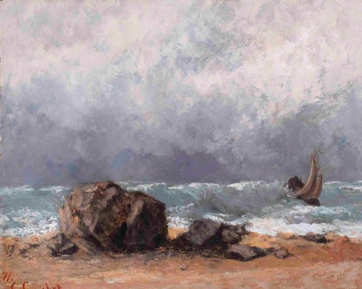 Marine scene, heavy weather | Gustave Courbet [1871]