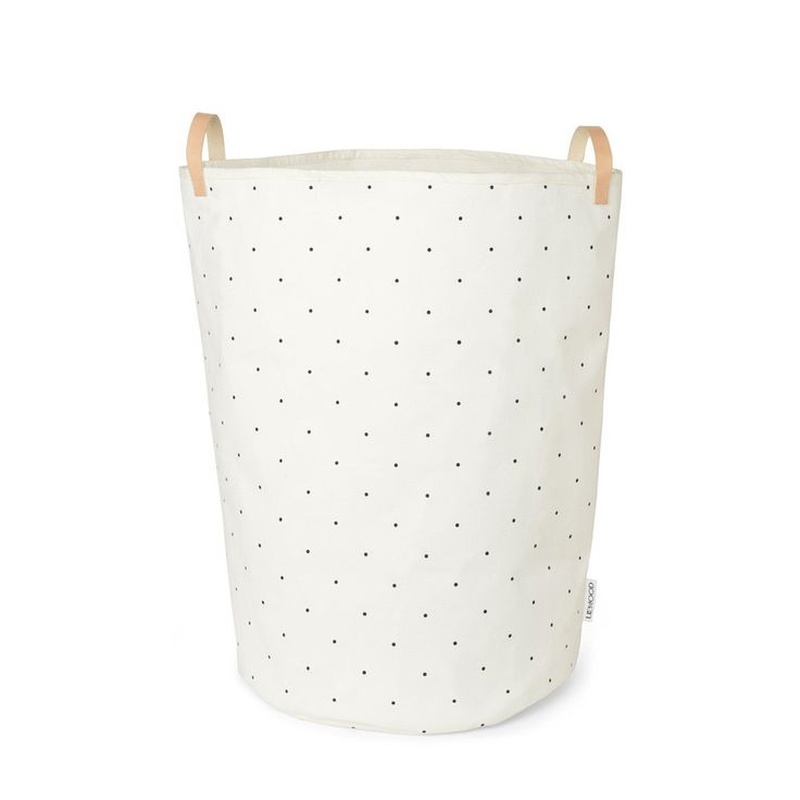 Liewood Ann Fabric Basket with Leather Handle Classic Dot Creme De La Creme