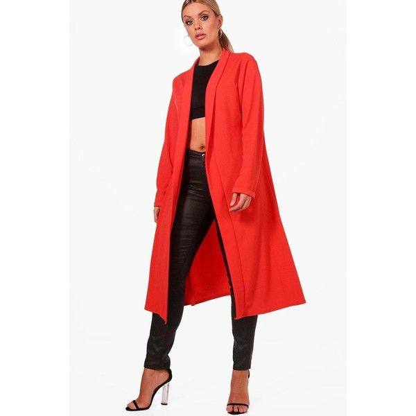 Boohoo Plus Bella Waterfall Duster Coat (€28) ❤ liked on Polyvore featuring outerwear, coats, wrap coat, mac coat, padded coat, red waterfall coat and duster coats